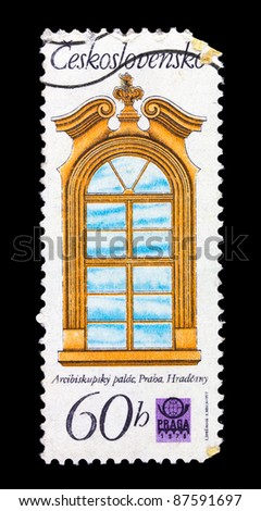 CZECHOSLOVAKIA - CIRCA 1978: A postage stamp printed in Czechoslovakia showing the image of antique window frame, series, circa 1978