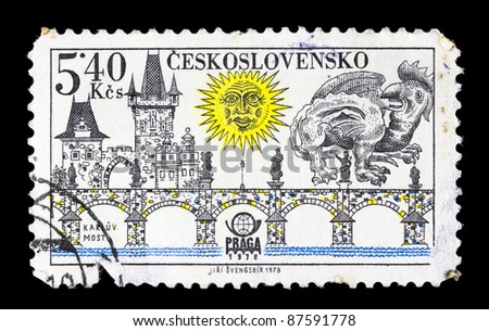 CZECHOSLOVAKIA - CIRCA 1978:  A postage stamp printed in Czechoslovakia shows Prague bridges and Praga 78 emblem: Charles Bridge, circa 1978.