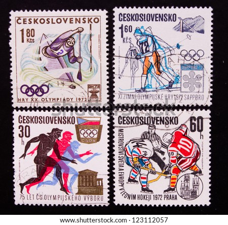 CZECHOSLOVAKIA - CIRCA 1972: A series of stamps printed in Czechoslovakia shows the olympic games of swimming,running,skiing and hockey, circa 1972.