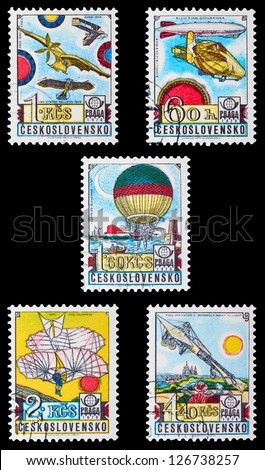 CZECHOSLOVAKIA - CIRCA 1978: A set of postage stamps printed in CZECHOSLOVAKIA shows airships, series, circa 1978