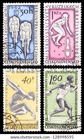CZECHOSLOVAKIA - CIRCA 1962: A set of postage stamps printed in CZECHOSLOVAKIA shows sport games, series, circa 1962