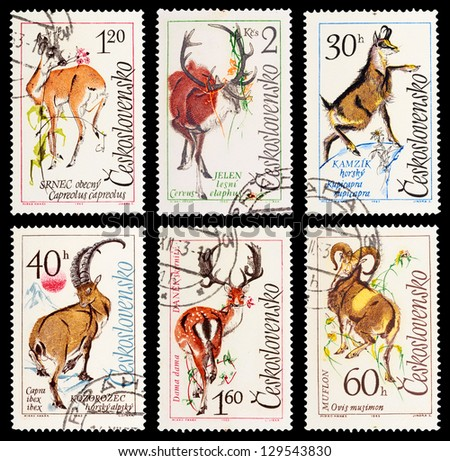 CZECHOSLOVAKIA - CIRCA 1963: A set of postage stamps printed in CZECHOSLOVAKIA shows wild Animals-mountain goats, series, circa 1963