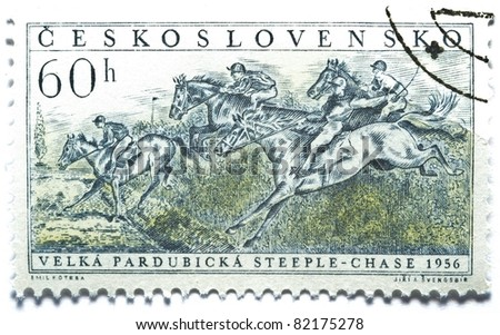 CZECHOSLOVAKIA - CIRCA 1956: a stamp from Czechoslovakia shows image of a horse race, circa 1956