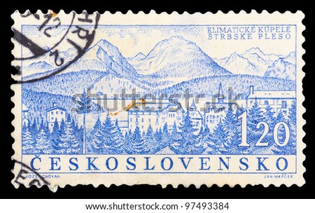 CZECHOSLOVAKIA - CIRCA 1958: a stamp printed by CZECHOSLOVAKIA shows a view of the climatic health resort Strbske Pleso, series, circa 1958