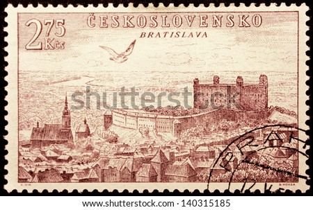 CZECHOSLOVAKIA - CIRCA 1955: a stamp printed by Czechoslovakia, shows bird's-eye view of Bratislava, circa 1955. - stock photo
