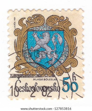 CZECHOSLOVAKIA - CIRCA 1982: a stamp printed by Czechoslovakia shows Coats of Arms of Czechoslovak towns. Mlada Boleslav, series, circa 1982