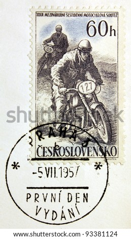 CZECHOSLOVAKIA - CIRCA 1957: a stamp printed by Czechoslovakia shows motorcycle competition, circa 1957.
