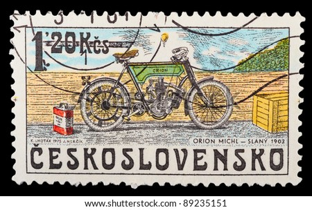 CZECHOSLOVAKIA - CIRCA 1975: A stamp printed by CZECHOSLOVAKIA shows old motorcycle, series, circa 1975