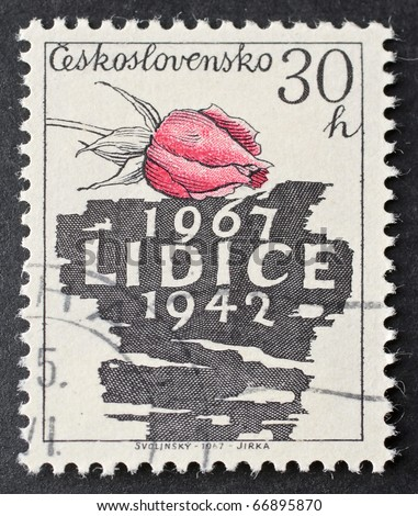 CZECHOSLOVAKIA - CIRCA 1967: a stamp printed in  Czechoslovakia celebrates twenty-fifth anniversary of Lidice destruction. Czechoslovakia, circa 1967