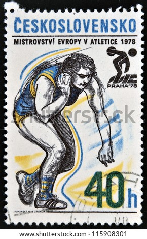CZECHOSLOVAKIA - CIRCA 1978: A stamp printed in Czechoslovakia dedicated 5th European Athletic Championships, Prague, shows Shot put, circa 1978