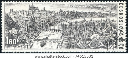 "CZECHOSLOVAKIA - CIRCA 1967: A stamp printed in Czechoslovakia devoted to an international tourist year, shows a panorama of Prague, with the inscription ""Praga mater urbium"", series, circa 1967."