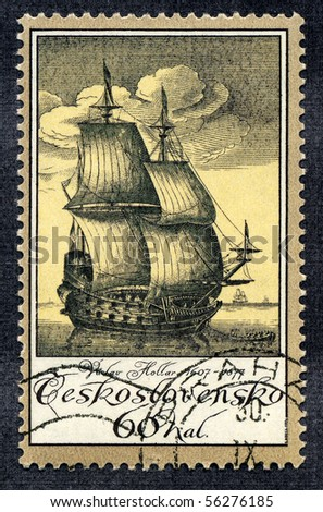 CZECHOSLOVAKIA - CIRCA 1976: A stamp printed in Czechoslovakia devoted to old vintage sailboat