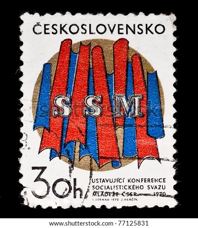 CZECHOSLOVAKIA - CIRCA 1970: A stamp printed in Czechoslovakia, devoted to the conference of Socialist Youth, circa 1970