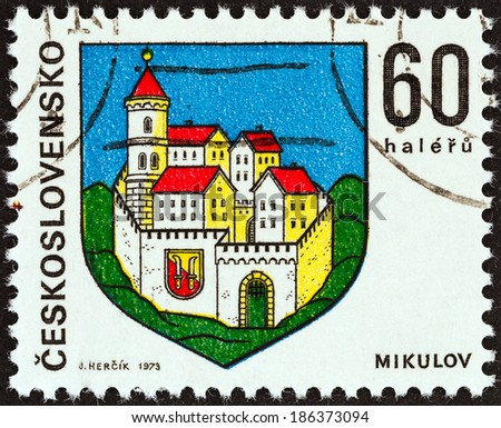 """CZECHOSLOVAKIA - CIRCA 1973: A stamp printed in Czechoslovakia from the """"Arms of Czech Regional Capitals (4th series)"""" issue shows coat of arms of Mikulov town, circa 1973."""