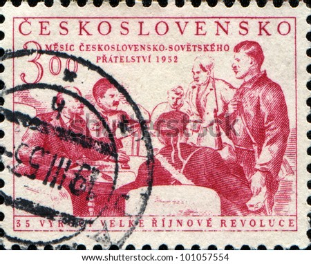 CZECHOSLOVAKIA - CIRCA 1952: A stamp printed in Czechoslovakia honoring 35th Anniversary of Russian Revolution, shows Lenin, Stalin and Revolutionaries, circa 1952