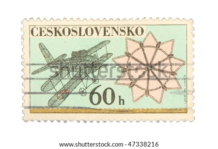 CZECHOSLOVAKIA - CIRCA 1972: A stamp printed in Czechoslovakia showing airplane circa 1972
