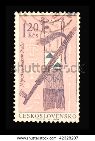 CZECHOSLOVAKIA - CIRCA 1966: A stamp printed in Czechoslovakia showing Indian weapons circa 1966