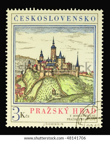 CZECHOSLOVAKIA - CIRCA 1976: A stamp printed in Czechoslovakia showing Prague Castle circa 1976