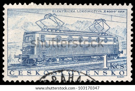CZECHOSLOVAKIA - CIRCA 1956: A stamp printed in Czechoslovakia showing the 'E499.0' Locomotive of 1954, circa 1956.