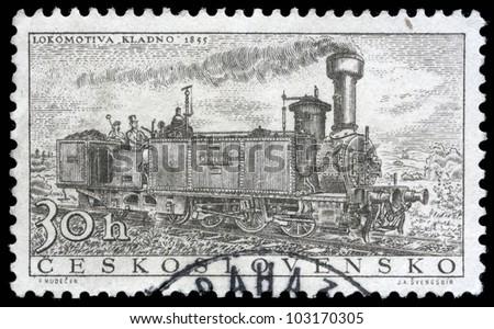 CZECHOSLOVAKIA - CIRCA 1956: A stamp printed in Czechoslovakia showing the 'Kladno' Locomotive of 1855, circa 1956.