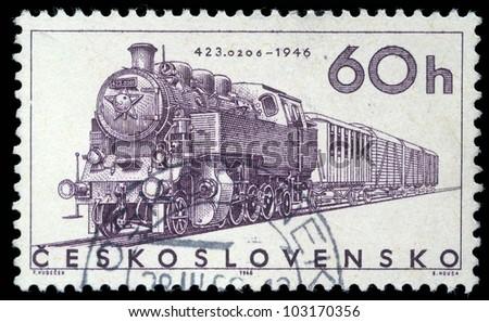 CZECHOSLOVAKIA - CIRCA 1965: A stamp printed in Czechoslovakia showing the '423.0206' Locomotive of 1946, circa 1965.