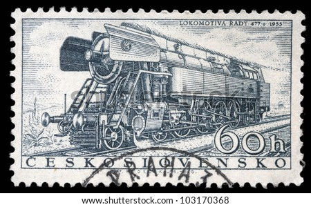 CZECHOSLOVAKIA - CIRCA 1956: A stamp printed in Czechoslovakia showing the 'Rady 477.0' Locomotive of 1955, circa 1956.
