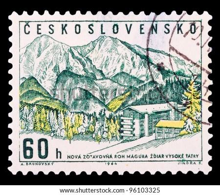 CZECHOSLOVAKIA - CIRCA 1964: A stamp printed in Czechoslovakia showing Zdiar in High Tatras, circa 1964