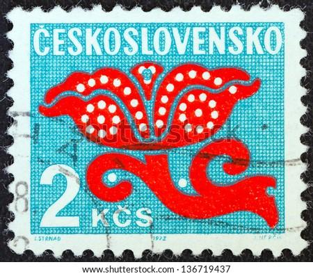 CZECHOSLOVAKIA - CIRCA 1972: A stamp printed in Czechoslovakia shows a stylized plant, circa 1972.