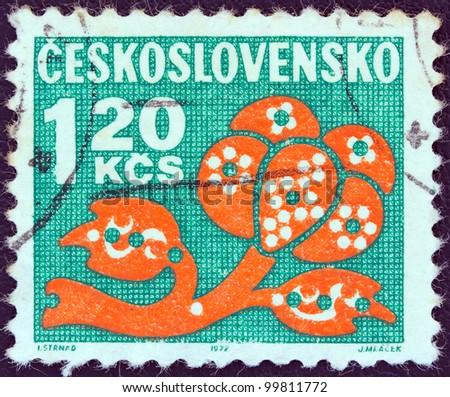 CZECHOSLOVAKIA - CIRCA 1971: A stamp printed in Czechoslovakia shows a stylized plant, circa 1971.