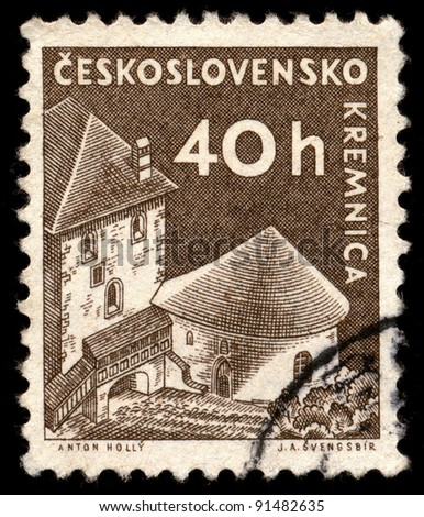 CZECHOSLOVAKIA - CIRCA 1960: A stamp printed in Czechoslovakia, shows a town in central Slovakia Kremnica, circa 1960