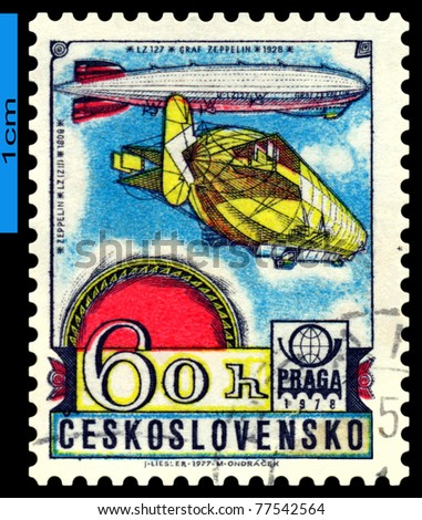 CZECHOSLOVAKIA - CIRCA 1978: A stamp printed in   Czechoslovakia shows airship Graf Zeppelin LZ-127,  circa 1978