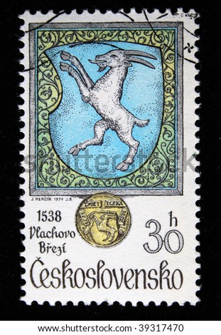 CZECHOSLOVAKIA - CIRCA 1979: A Stamp printed in Czechoslovakia shows arms of city Vlachovo Brezi, series, circa 1979