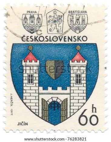 CZECHOSLOVAKIA - CIRCA 1977: A stamp printed in Czechoslovakia, shows arms of Jicin, circa 1977