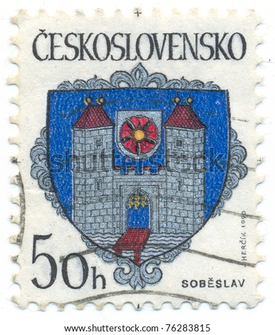CZECHOSLOVAKIA - CIRCA 1990: A stamp printed in Czechoslovakia, shows arms of Sobeslav, circa 1990