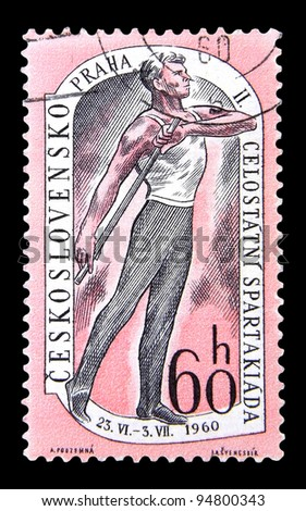 "CZECHOSLOVAKIA - CIRCA 1960: A stamp printed in Czechoslovakia shows Athlete with the inscription ""Czechoslovakia, Prague, II National Spartakiade"" from the series ""National Spartakiade"", circa 1960"