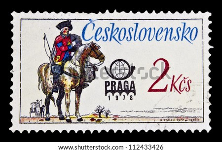 "CZECHOSLOVAKIA - CIRCA 1977: A stamp printed in Czechoslovakia, shows Austrian Postal Rider, 1770, with the inscription ""Prague 78"", from the series ""International Stamp Exhibition"", circa 1977"