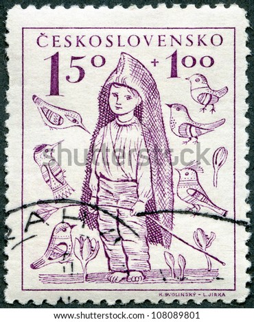 CZECHOSLOVAKIA - CIRCA 1948: A stamp printed in Czechoslovakia shows Barefoot Boy, the surtax was for child welfare, circa 1948