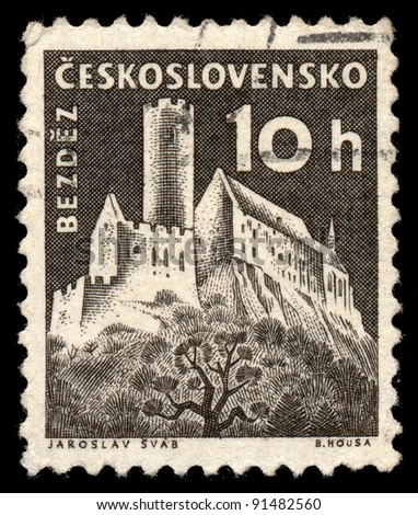 CZECHOSLOVAKIA - CIRCA 1960: A stamp printed in Czechoslovakia, shows Bezdez Castle, circa 1960