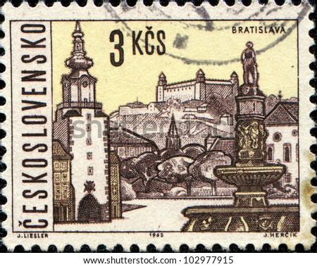 CZECHOSLOVAKIA - CIRCA 1965: A stamp printed in Czechoslovakia shows  Bratislava, the capital of Slovakia, circa 1965