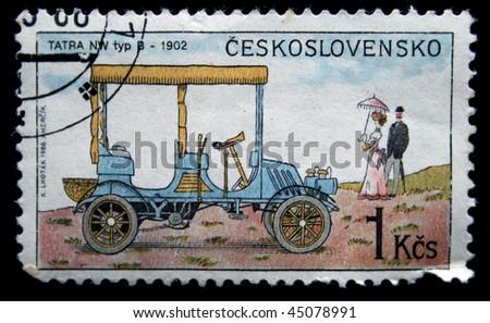 CZECHOSLOVAKIA - CIRCA 1988: A Stamp printed in Czechoslovakia shows car Tatra NW typ B - 1902, circa 1988