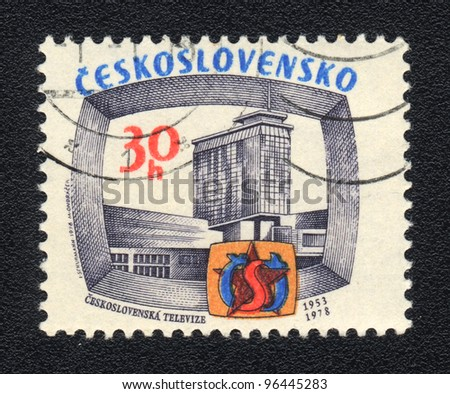 CZECHOSLOVAKIA - CIRCA 1978: A stamp printed in CZECHOSLOVAKIA  shows Czechoslovak television, circa 1978