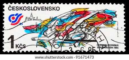 CZECHOSLOVAKIA - CIRCA 1985: A stamp printed in Czechoslovakia shows Czechoslovakia sports and athletics meeting of 1985 year, circa 1985 - stock photo