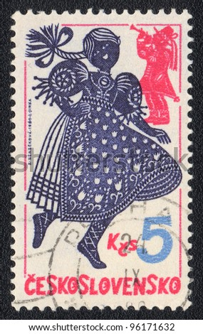 CZECHOSLOVAKIA - CIRCA 1980: A stamp printed in CZECHOSLOVAKIA  shows dancing girl, from series, circa 1980
