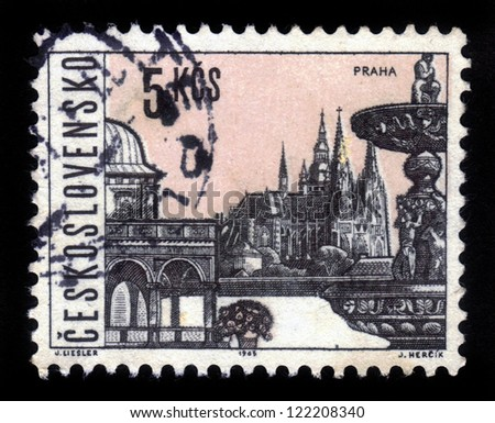 CZECHOSLOVAKIA - CIRCA 1963: A stamp printed in Czechoslovakia, shows famous places and sights of Prague, circa 1963