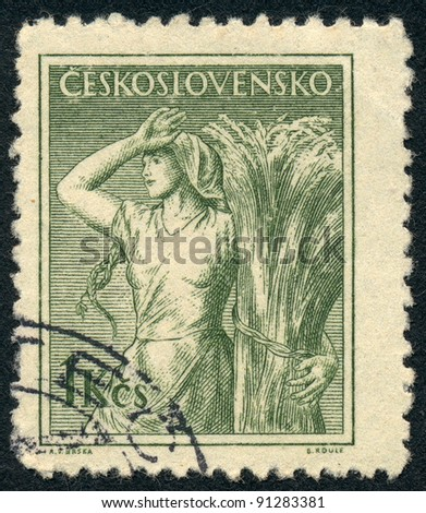 CZECHOSLOVAKIA - CIRCA 1954: A stamp printed in Czechoslovakia, shows Farm woman, series, circa 1954