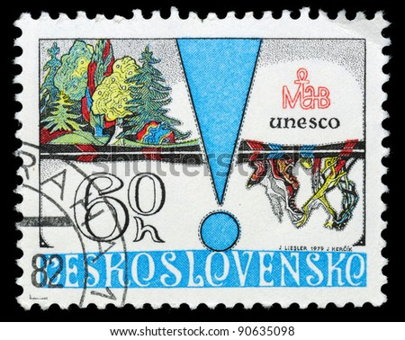 CZECHOSLOVAKIA - CIRCA 1979: A stamp printed in Czechoslovakia shows Forest, Thriving and Destroyed, circa 1979