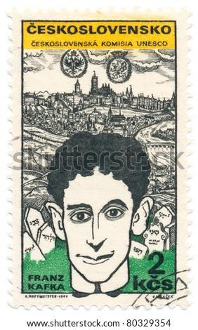 CZECHOSLOVAKIA - CIRCA 1969: A stamp printed in Czechoslovakia, shows Franz Kafka (1883-1924), Austrian writer , circa 1969