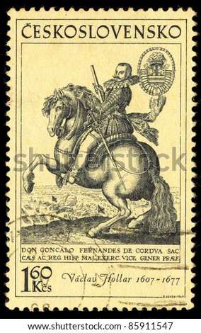CZECHOSLOVAKIA - CIRCA 1969: A stamp printed in Czechoslovakia shows image of a beautiful and rider by Vaclav Hollar, circa 1969