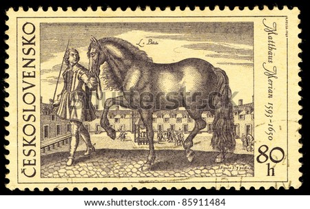 CZECHOSLOVAKIA - CIRCA 1969: A stamp printed in Czechoslovakia shows image of a beautiful horse by Mattius Merian, circa 1969