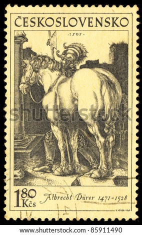 CZECHOSLOVAKIA - CIRCA 1969: A stamp printed in Czechoslovakia shows image of a beautiful horse by Albrecht Durer, circa 1969